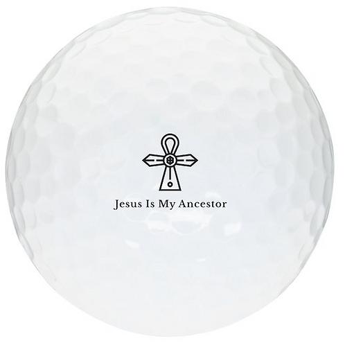 White Golf Ball - Black Logo