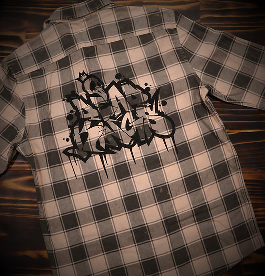 Limited Edition Unisex Salmon Graffiti Flanno (Black Print)