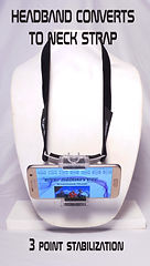 Eye Shooter Headband Converts to a Neck Strap for Hand Held Steady Video with your cell phone.