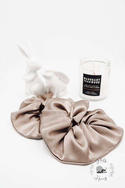 Hello-Honey Satin Hair Scrunchie - Champagne