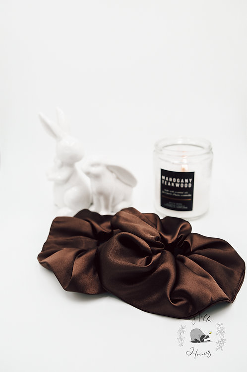 Hello-Honey Satin Hair Scrunchie - Chocolate Brown
