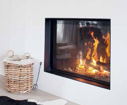 Side-hinged glass efficient woodburning fireplace