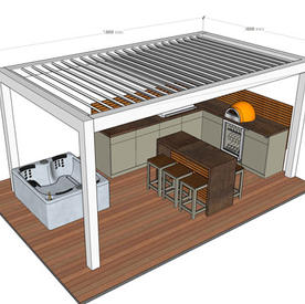 5m bioclimatic Pergola, corner kitchen and Island - hot tub by others - allow up to £50k