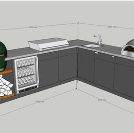 Green Egg, European-style gas BBQ, pizza oven sink, wine cooler, fridge and log store Bioclimatic pergola, corner kitchen & island  - allow around £30k.