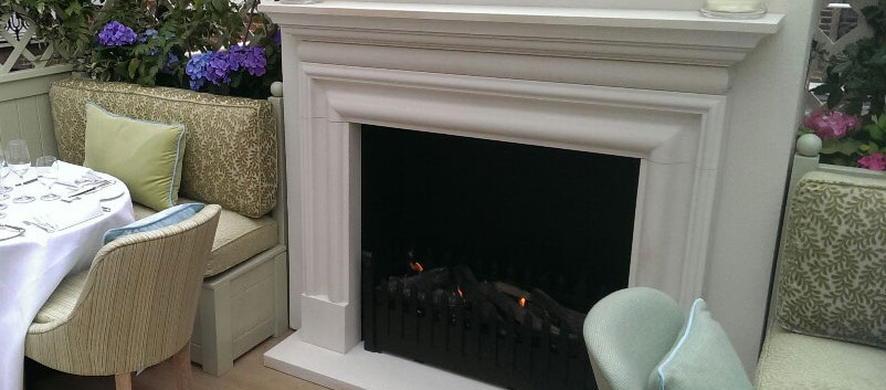 Marks Club outdoor restaurant fireplace