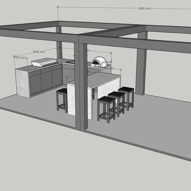 Double pergola, kitchen & island