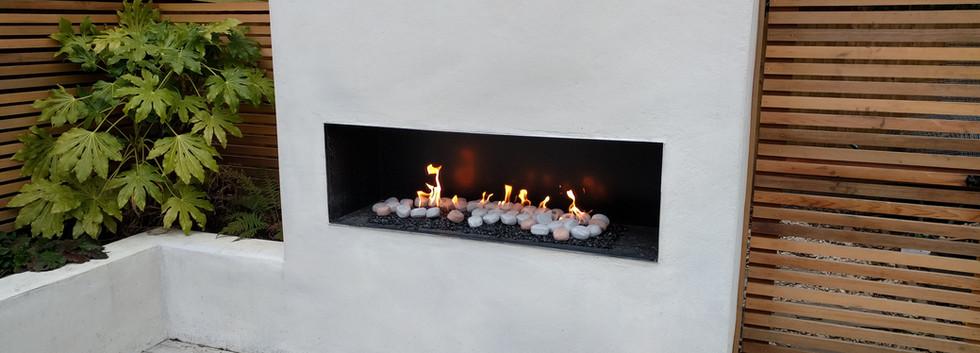 1500 wide bespoke outdoor gas fireplace