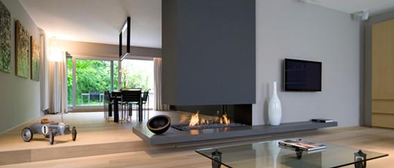 Bespoke 3-sided woodburning open fireplace