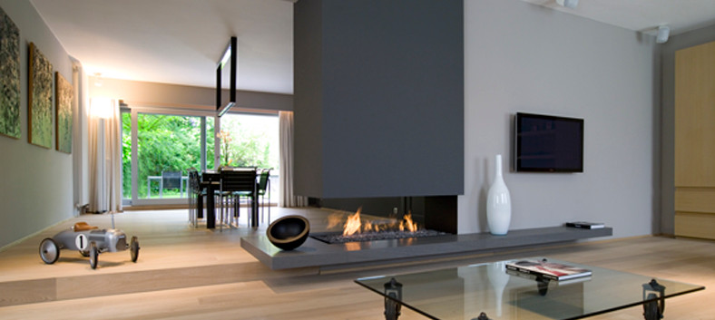 Bespoke 3-sided woodburning open fireplace