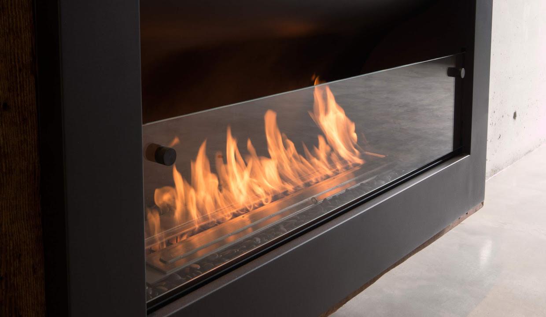 Urban Fires bioethanol firebox with sliding glass