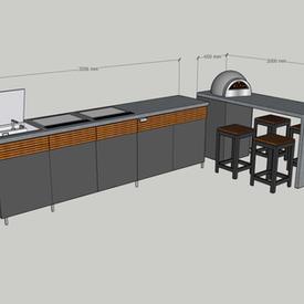 Stunning 3.5m Corner & separate breakfast bar island, two teppanyaki plates, Barazza sink, fridge and bar stools  - allow around £30k.