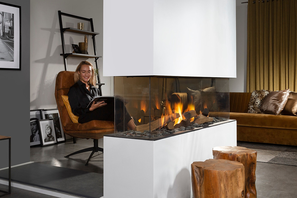 A four sided glass fireplace by Urban Fires