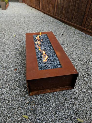 Corten steel gas fire pit