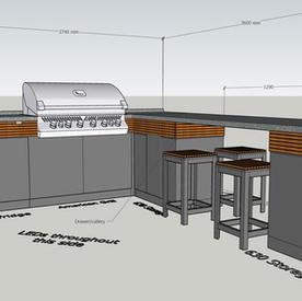 Corner with breakfast bar, American-style gas grill, fridge, storage and weatherproof bar stools - around £24K + VAT