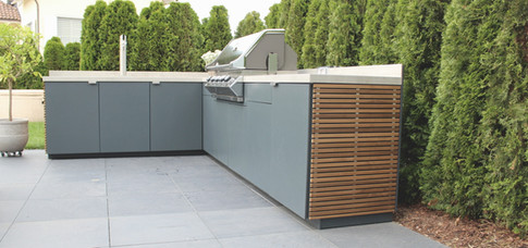 A Cubic outdoor kitchen corner unit.