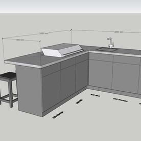 Corner kitchen/Breakfast Bar  - allow around £25k.