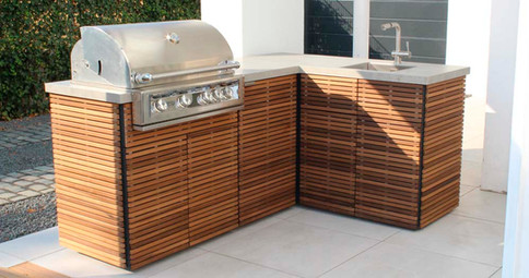 Add one of our wood finishes to your outdoor kitchen