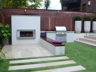 Outdoor kitchen and Escea EF5000 standard-size outdoor gas fireplace