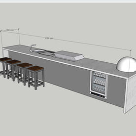 Six metre kitchen with breakfast bar, wine cooler, fridge, teppanyaki, gas grill, fridge and pizza oven  - allow around £32k.