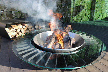 Bespoke contemporary woodburning fire table
