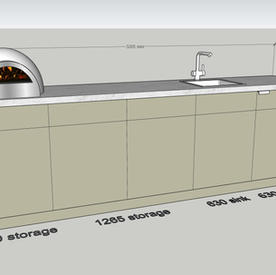 3500 wide, pizza oven, sink & fridge