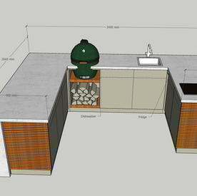 Green Egg in a fully-featured corner kitchen, with plenty of worksurface, fridge, dishwasher, induction hob, breakfast bar and matching weatherproof stools  - allow around £40k.