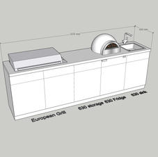 Simple, with European style BBQ, Pizza oven, sink & fridge