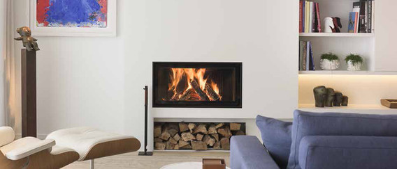 Side-hinged glass door fireplace