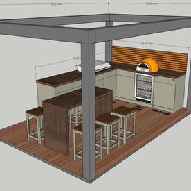Bioclimatic pergola, corner kitchen & island  - allow around £50k.