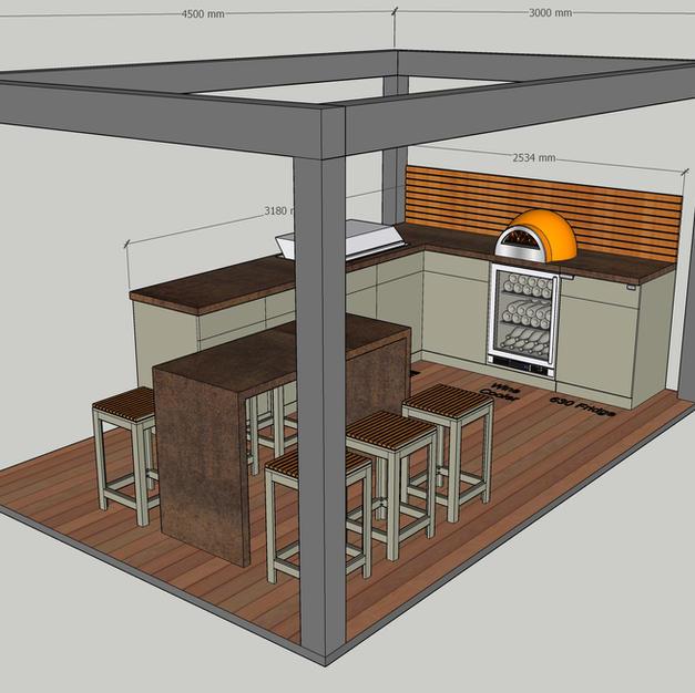Pergola, olive grey kitchen