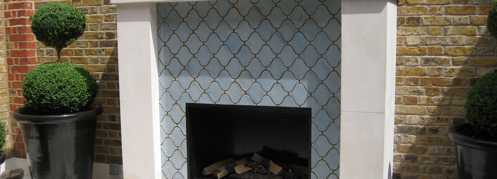 Roof terrace gas fireplace. Bespoke installation.