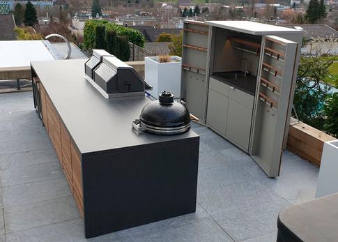 Cubic Island outdoor kitchen with additional garden storage