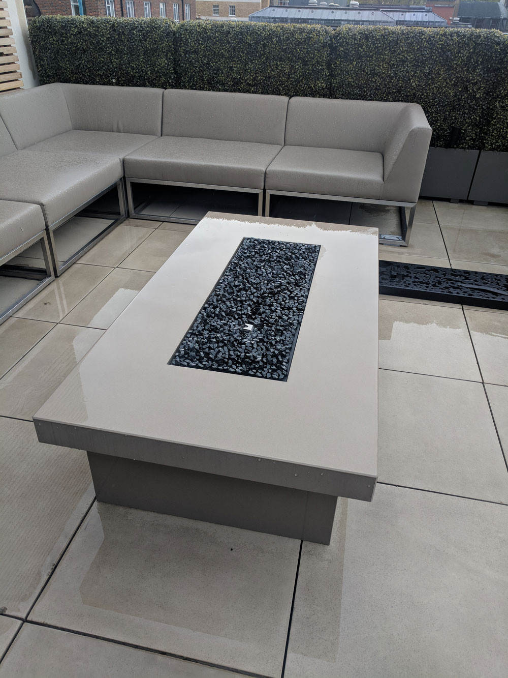 Urban Fires firetable in polished stone