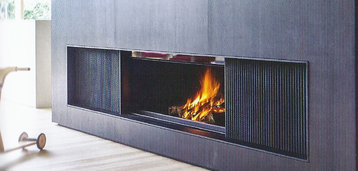 Sliding door woodburning fireplace