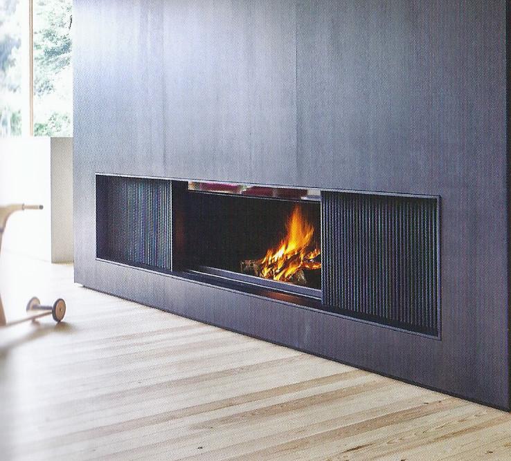 Sliding door woodburning fireplace