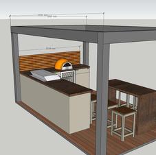 Pergola, corner kitchen & island