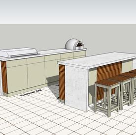 Outdoor kitchen & breakfast bar - allow around £25k.