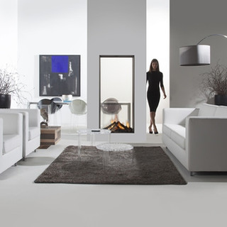 Vertical see-through gas fireplace
