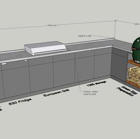 Corner outdoor kitchen with Barazza sink - around £27k + VAT