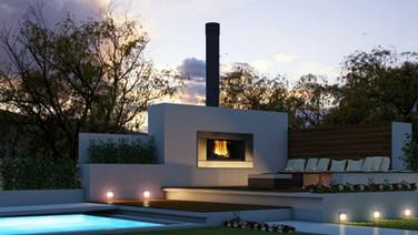 Escea EW5000 contemporary woodburning outdoor fireplace