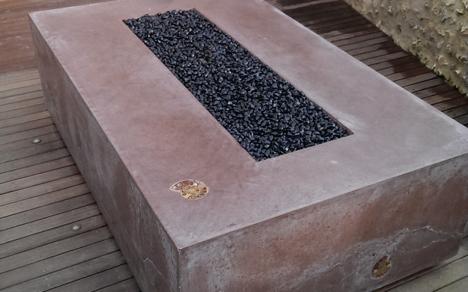 Polished concrete fire pit - made with real fossils!