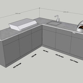 Classic corner with gas BBQ, fridge & sink - allow around £21k + VAT.