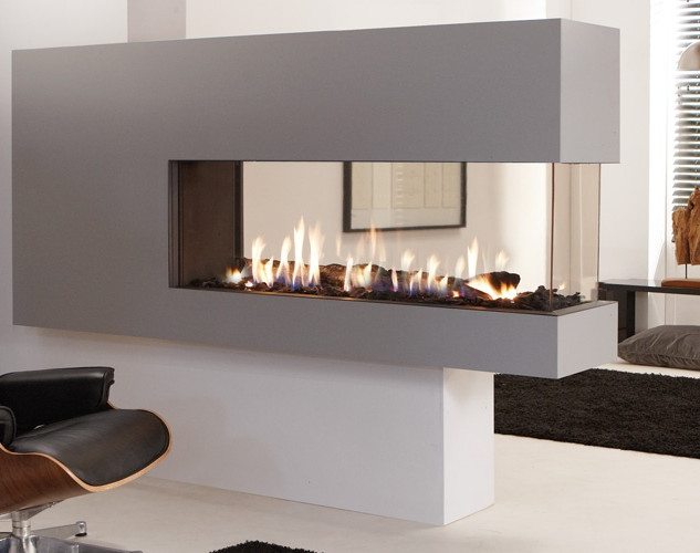 UF1400-RD our three-sided room divider gas fireplace.