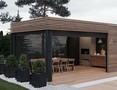 Outdoor spaces, fireplaces and kitchens