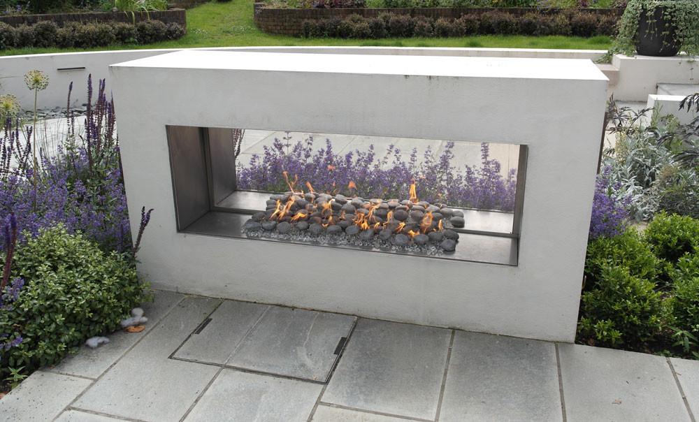 Bespoke 'See-Through' outdoor gas fireplace