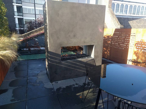 Bespoke see-through outdoor gas fireplace