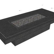 Bespoke Firetable Basalt Black and inlay