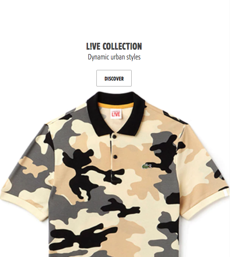 LACOSTE L!VE Home Page Image