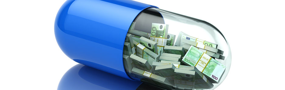 pill filled with money note bundles