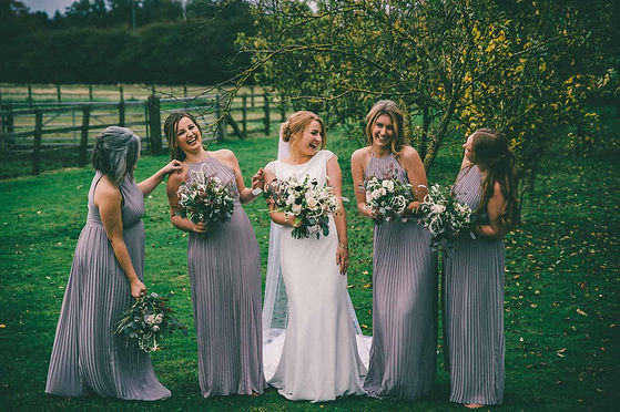 natural yorkshire wedding photography at the barn at willerby wedding venue, bride and bridesmaids portrait